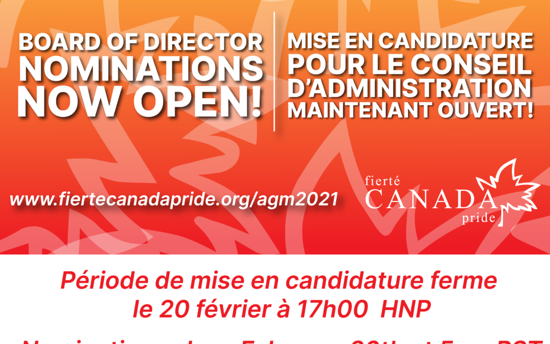 Nominations now open! • Période de mise en candidature maintenant ouvert!